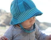 Toddler and Baby Sun Hat with Blue Stripes