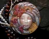 Butterfly Angel Fairy Cameo Face Cab Handmade OOAK Polymer Clay beading cabochon