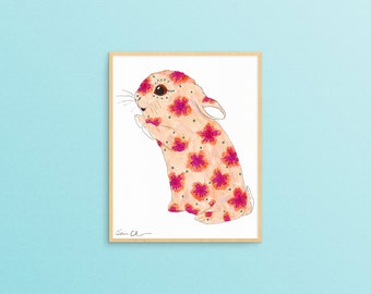 Cute Bunny Art Print, Bunny Gifts, Rabbit Art Print, Spring Decor, Bunny Decor, Funny Animal Art, Nursery Wall Art, Cute Gifts, Gift for Her