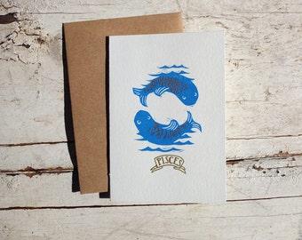Pisces zodiac letterpress linocut card