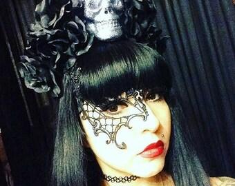 Black Rose Dia De Los Muertos Headband, Day of the Dead, Flower Crown