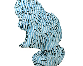 decorative pillow, cat pillow, kitty pillow, animal pillow, medium fluffy cat shaped blue striped fabric