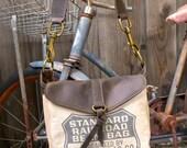 Std Railroad Bean Bag - California RARE- Small Leather Messenger - Americana Canvas Leather Handbag- vintage fabric.. Selina Vaughan Studios
