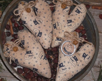 4 Primitive Rustic Winter Time Snowman Valentine Blue and White Hearts Bowl Fillers Ornies Ornaments Tucks Mini Pillows
