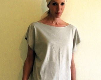 Pearl gray top, short sleeves top, oversized boxy top, minimal jersey top
