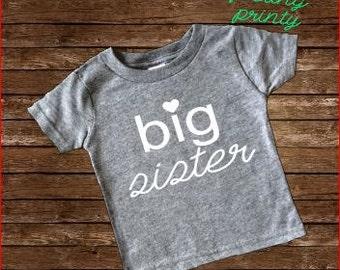 SALE Big Sister Shirt Girls Shirt New Sister grey shirt big sis