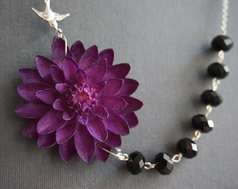 Purple Jewelry,Statement Necklace,Purple Necklace,Bridesmaid Gift,Purple Flower Necklace,Black Necklace,Bridesmaid Jewelry Set,Gift For Her