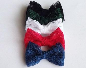 Pick 1 Lace Bow Hair Pin, Baby Snap Clip, Girl Hair Clip