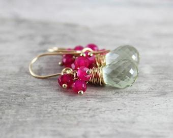 Green Amethyst Earrings, Hot Pink Earrings, Chalcedony Gemstone Earrings, Gold Filled Earrings, Wire Wrap Earrings, Dangle Drop Earrings