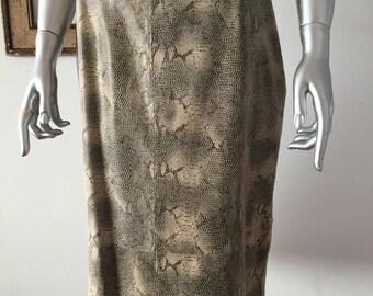 For Joseph Snakeskin Print Suede Skirt