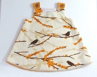 Sparrow Birds on Branch Girls Dress - Baby Dress - Ivory & Orange Spring Dress -  Size 6 - 12 Months