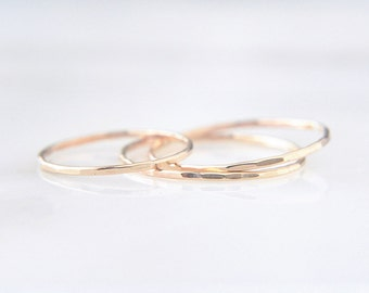 3 Solid 14K Yellow Gold EXTRA Skinny stacking ring set - delicate dainty gold rings - faceted hammered texture - three ring set/ Silk 0.8mm