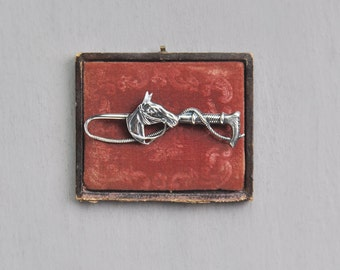 Vintage Sterling Silver Horse Brooch -  riding crop equestrian pin - signed Beau Sterling