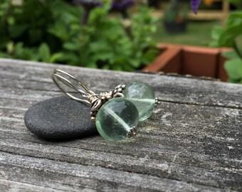 Fluorite Gemstone Sterling Silver Dangle Earrings