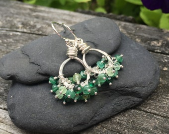Genuine Emerald Gemstone Sterling Silver Earrings, Cluster Dangle, May Birthstone, Handmade Jewelry, Real Emerald Gemstone