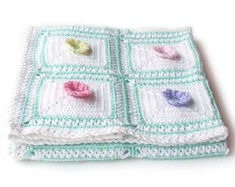 3D Flower Baby Blanket. Crochet Floral. Baby Girl Shower Gift. Field of Flowers Large Crib Afghan.  Baby Girl Nursery Keepsake Blankie