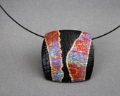 Contemporary Jewelry Statement Art pendant necklace Choker Abstract Colorful Square Neck wire Metallic colors Solitaire Polymer clay Texture