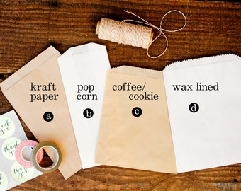 DIY Plain Favor Bags - Wedding Baked Goods, Coffee, and Candy Bags - No Design or Printing Included - 25 Bags