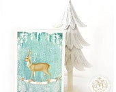Deer Christmas card, happy holidays, flakes of snow, vintage style greeting, blank inside