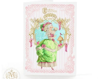 Marie Antoinette, Christmas card, Christmas stockings, cake, macarons, robin, mint green, pink, French, candy stripes, holiday card