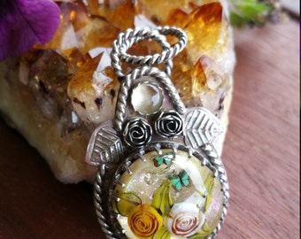 Roses, Butterflies & Citrine Glass Sterling Pendant Necklace