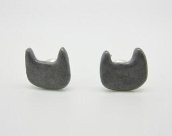Gray Ceramic Cat Earrings on Titanium Posts 100% Nickel Free