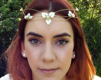 Elven Wedding Circlet Tiara Crown ~ Woodland Triquetra in custom colors
