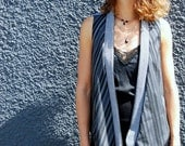 Uptown Vest ONE SIZE blue, reversible, tartan, tweed, graduated hemline, layering piece, one of a kind, upcycled, rework (sizes 2-10)