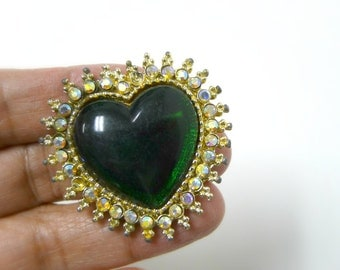 green heart rhinestone studded brooch