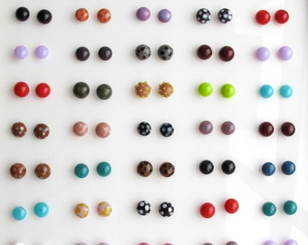 Glass Stud Earrings Custom Colours Glass and Silver Gifts for Her Modern flamework Women's Jewelry Under 30 Round Studs Small Earrings