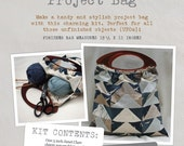 Project Bag - Fabric and Pattern Kit - Create your own stylish project bag with Janet Clare's unique 'More Hearty Good Wishes' Moda fabric