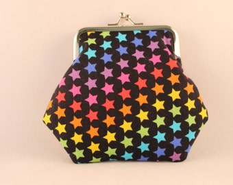 Rainbow Stars Clasp Kisslock Change Coin Purse