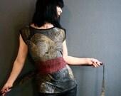 The Glorious Land - iheartfink Handmade Hand Printed Womens Earth Tones Wearable Art Print Jersey Top