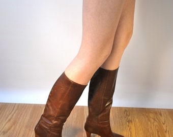 Vintage leather Boots, Us 8, Uk 6, Eu 38, brown knee high boots, made in Japan, Tall Leather Boots, Leather Knee high Boots, cb10-12150216ac