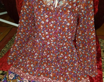 Floral Peasant Blouse Mini Dress Small Bohemian Gypsy Hippie