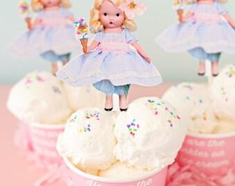 Sweet Ice Cream Sprinkles Glitter Girl Mixed Media Art Decor home children room