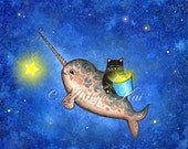 Narwhal Print - Hanging Stars with a Friendly Narwhal - Blue Sea Ocean Song