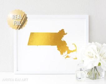 Massachusetts Gold Foil - Massachusetts Wall Art - Real Gold Foil Print - Boston MA Map - Massachusetts Foil Print - Personalized Home Decor
