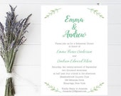 10 Leaf Wedding Rehearsal Dinner Invitations - Floral Invitation, Wedding Rehearsal