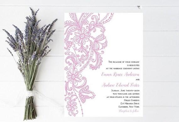Vintage Wedding Invitation, Lace Wedding Invitation, Elegant Wedding Invitation