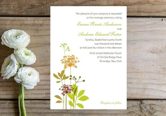 Whimsical Flower Wedding Invitation