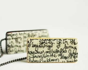 Handwriting Bamboo Tile Pendant Necklace - Horizontal Writing - Fun Spring Script Necklace - by Gazzu
