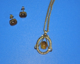 Vintage Van Dell 12K GF Tiger Eye Necklace Earrings Set Yellow Gold
