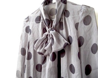 Vintage Sheer Polka Dot Blouse with Bow - Grey and Black