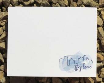 Watercolor Skyline Personalized Stationery  - Custom - Personalized Stationery - Atlanta, New York