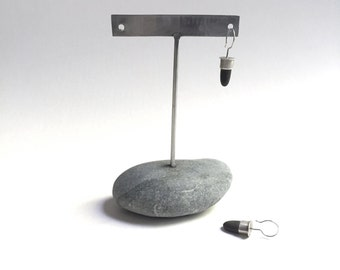 Post or Ear Wire Earring Display T Rack Holder Natural Lake Erie Beach Stone Stainless Steel Rock Jewelry Stand f