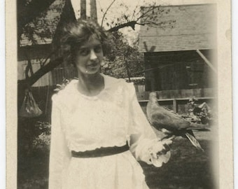 vintage photo 1920 Dorothy Holds Bird in the Hand