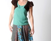 Blue and brown patchwork skirt, in vintage floral cotton, Short patchwork skirt, Brown floral skirt, Womens skirts, size UK 8 / FR 36