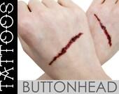 Slit Gash Fake Wound Temporary Tattoos - Halloween Costume Accessories - Bloody Wrist Hand Cut Slash Mark