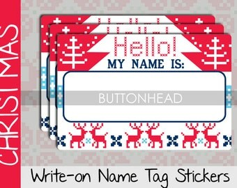 Ugly Christmas Sweater Party Decorations Decor - Adult Christmas Party Games - Name Tags Stickers (Set of 10)